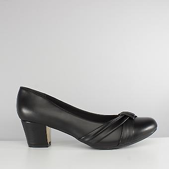 Comfort Plus Sharon Ladies Sash Wide Fit Court Shoes Black