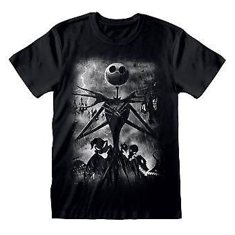 Men's The Nightmare Before Christmas Stormy Skies Black T-Shirt