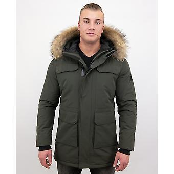 Winter coat Parka With Big Real Fur Collar - Green