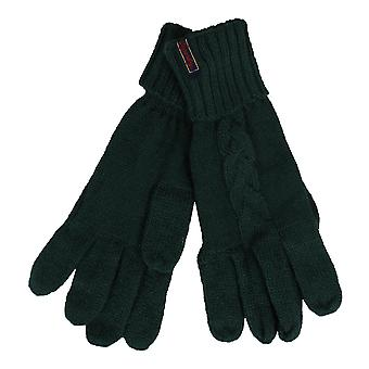 Superdry lannah emerald green cable gloves