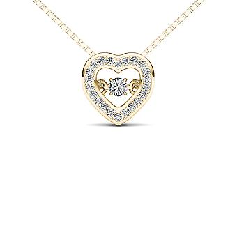 Igi certified 10k yellow gold 0.20 ct natural diamond heart pendant necklace