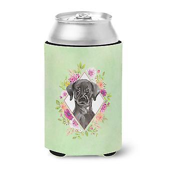 Carolines Treasures  CK4421CC Black Labrador Green Flowers Can or Bottle Hugger