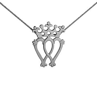 Silver 35x49mm Luckenbooth double Heart and Crown Pendant with a 1.3mm wide curb Chain 24 inches