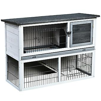 PawHut 2-Level Rabbit Hutch House Small Pet UV Water Resistant w/ Living House Outdoor Run Ramp Secure Doors Grey Black