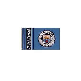 Manchester City FC Wordmark Stripes Flag