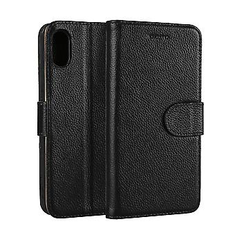 Voor iPhone XS, X Wallet Case, Elegante Mode Cowhide Echte Lederen Cover, Zwart
