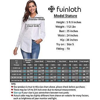 fuinloth المرأة & أبوس؛s شامبراي زر أسفل قميص، كم طويل، أبيض، حجم XX-كبير