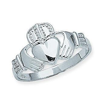 14k Beyaz Altın Mens İrlandalı Claddagh Celtic Trinity Knot Yüzük Boyutu 10 Erkekler için Takı Hediyeler