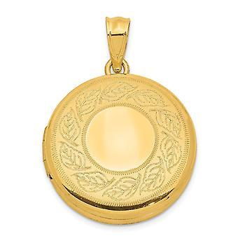 925 Sterling Silber 20mm 14k vergoldet gebürstet und poliert Blätter Runde Foto Medaillon Anhänger Halskette Schmuck Geschenke f
