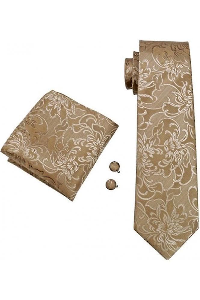 JSS Gold Floral Silk Neck Wedding Tie, Pocket Square & Cufflink Set