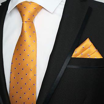 Orange & lavender purple polka dot tie & pocket square