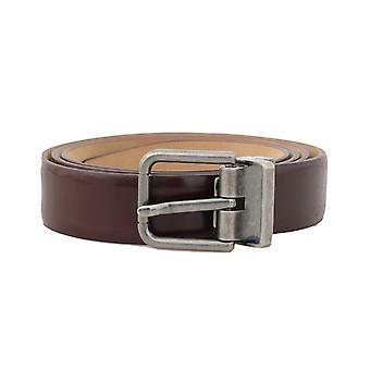 Dolce & Gabbana Bordeaux Leather Gray Buckle Belt