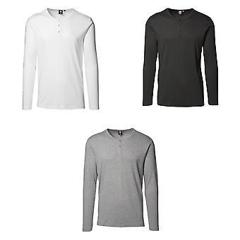 ID Mens 1x1 Rib Long Sleeve Fitted Granddad T-Shirt