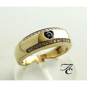 Gold hearts ring with diamonds and sapphires