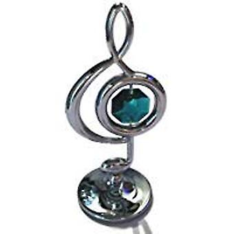 Crystocraft Freestanding Silver Plated Treble Clef Ornament Made With Swarovski Crystals