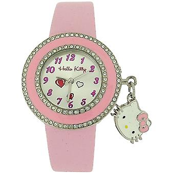 Hello Kitty Girls Analogue Silver Dial & With Kitty Charm & Pink PU Strap Watch