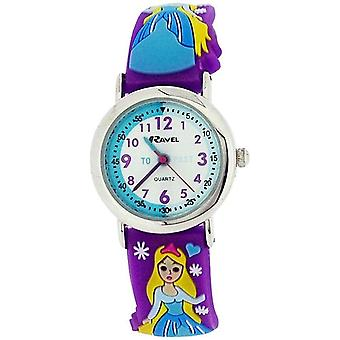 Ravel Time Teacher Girls 3D Ice Princess Design Purple Rubber Strap Watch