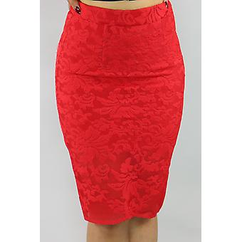 Fire red pattern knit pencil skirt