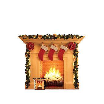 Christmas Fireplace Cardboard Cutout / Standee / Standup / Standee