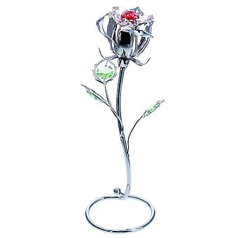 Crystocraft Rose Bud Flower Crystal Ornament made With Swarovski crystals Gift Boxed Red Crystals Silver Chrome Plated Perfect Keepsake Collectors Gift Figurine Home Decor Valentines Day Romance Present