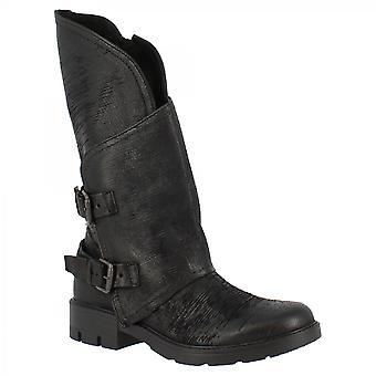 ليوناردو أحذية النساء & أبوس؛s اليدوية أحذية منتصف العجل أحذية سوداء جلدية الجانب الرمز البريدي أبازيم