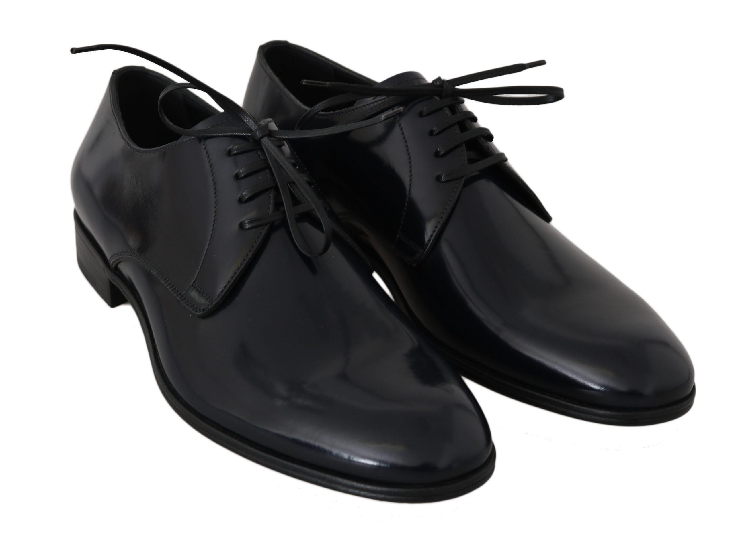 Dolce & Gabbana Blue Leather Dress Derby Formal Mens  Shoes MV2336-40