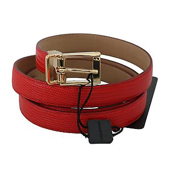 Dolce & Gabbana Red Leather Polished Gold Buckle Belt BEL60328- 100