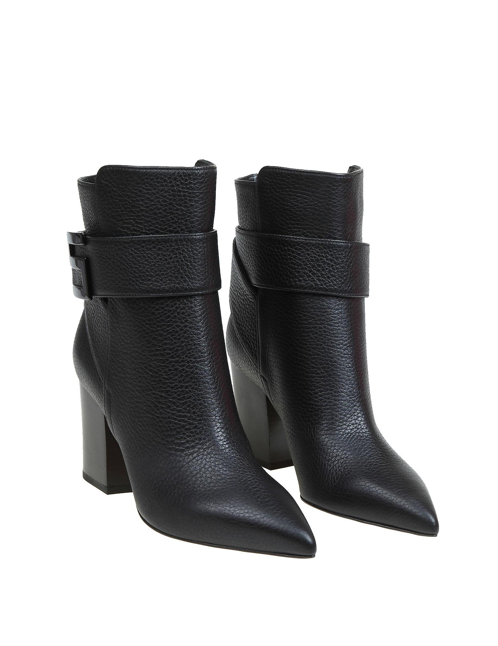 Sergio Rossi A89080mmvr131000 Women's Black Leather Ankle Boots