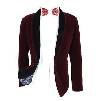 Boys Burgundy Velvet Blazer with a Black Contrast Shawl Lapel Blazer