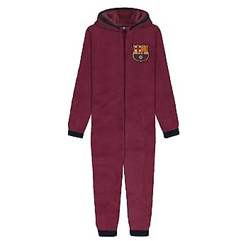 FC Barcelona officiella Fotboll Gift Boys Kids Pyjamas Sovkläder Hooded Allt-i-ett