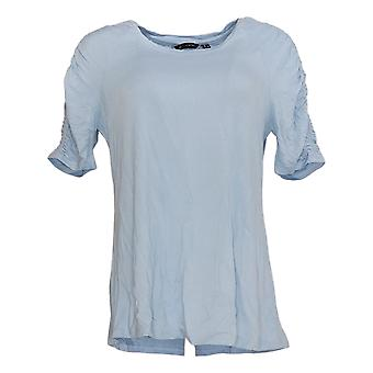 H by Halston Women's Top Elbow Sleeve Top w/ Ruching Detail Blue A306899