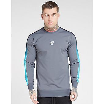 New Siksilk Men's Fade Panel Crew Sweatshirt Grey