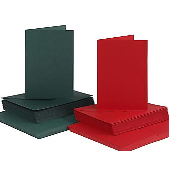 50 Red & Green A6 Cards and Envelopes for Card Making Crafts