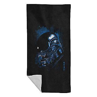 Alien Close Up Blue Beach Towel