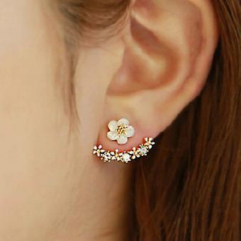 Altın Çiçek Tasarım Kulak Ceket Küpe