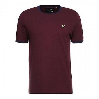 Lyle & Scott Ringer Crew Neck T-Shirt Burgundy/Navy TS705V