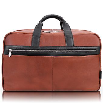 """19110, U Series, Wellington 21"""" Leather, Two-Tone, Dual-Compartment, Laptop & Tablet Carry-All Duffel - Brown"""