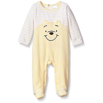 Disney Baby Boys' Winnie The Pooh Velour Footie Sleeper, Pale Banana, 6-9 Mon...