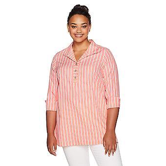 Foxcroft Women's Dani Wide Stripe Non Iron Tunic, Sunset Coral, 14