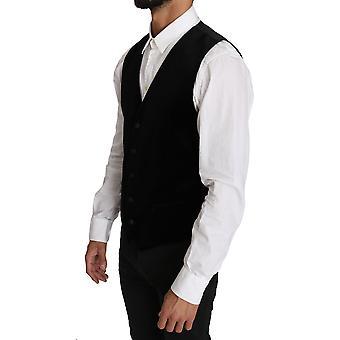 Dolce & Gabbana Black Solid Velvet Waistcoat Vest TSH2662-48