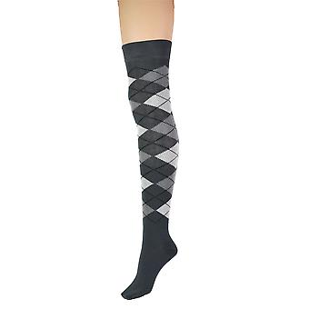 Kvinder & apos;s Argyle Diamond Over Knæet High Costume Girls Socks 4-8 UK