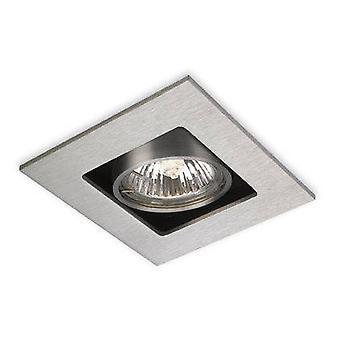 1 Licht Quadrat Einbau Downlight gebürstet Stahl, GU10