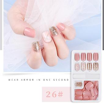 30pcs Detachable False Nail Artificial Tips -set Full Cover For Short Decoration Press On Nails Art
