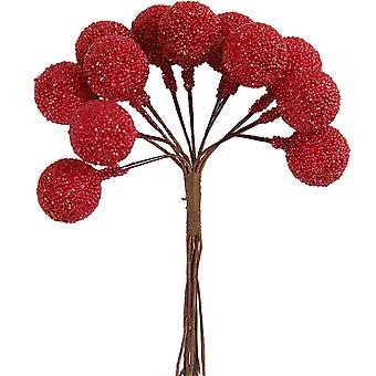 12 Wired Red Glittered Berries for Christmas Wreaths & Floristry