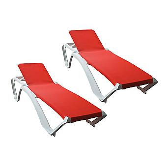 Resol Marina Garden Sun Lounger Bed - Adjustable Reclining Outdoor Summer Furniture - White, Red - Pack of 2
