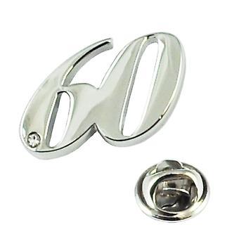 Ties Planet Numero 60, 60o Compleanno Lapel Pin Badge Con Cristallo - Rhodium Plated