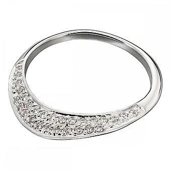Элементы Серебряный Плоский CZ Pave Ring R3672C