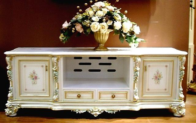 LouisXV baroque TV chest of drawers in creme white  venetian baroqu...