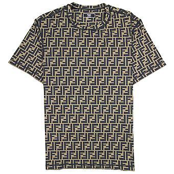 Fendi Logo Print Crew Neck T Shirt Tobacco/moro