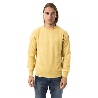 Uominitaliani Giallo Crew Neck Long Sleeve Sweater